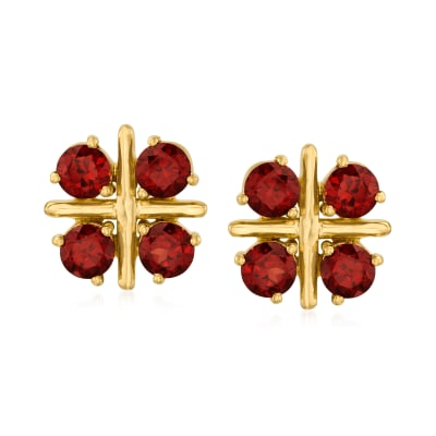 2.50 ct. t.w. Garnet Earrings in 18kt Gold Over Sterling