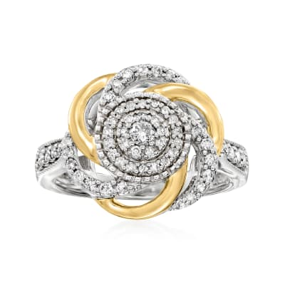 .50 ct. t.w. Diamond Cluster Knot Ring in Sterling Silver with 14kt Yellow Gold