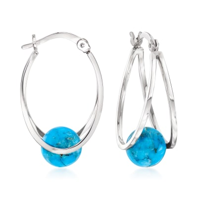 Turquoise Double-Hoop Earrings in Sterling Silver