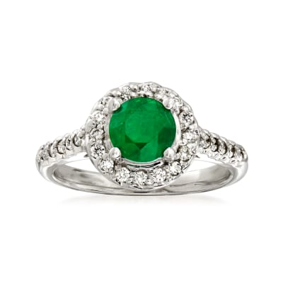 1.20 Carat Emerald and .33 ct. t.w. Diamond Halo Ring in 14kt White Gold
