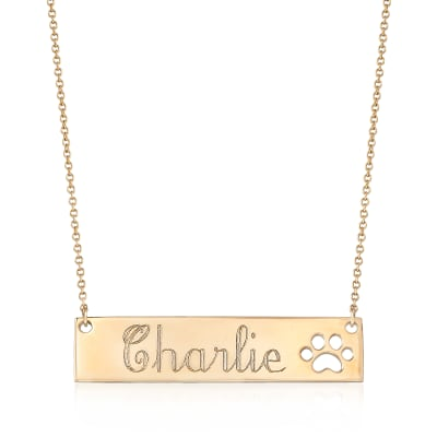 Personalized Bar Necklace with Paw Print in 14kt Yellow Gold