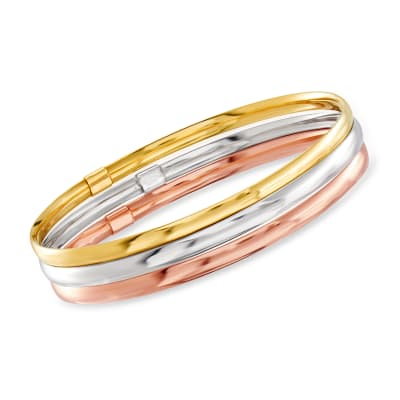 Italian 14kt Tri-Colored Gold Jewelry Set: Three Bangle Bracelets