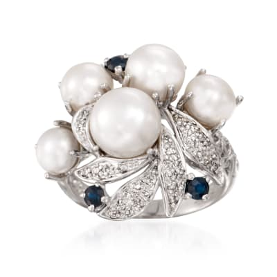 5-8mm Cultured Pearl and .20 ct. t.w. Sapphire Ring with Diamonds in Sterling Silver