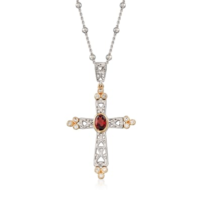 .90 Carat Garnet and .40 ct. t.w. White Zircon Cross Pendant Necklace in Sterling Silver with 14kt Yellow Gold