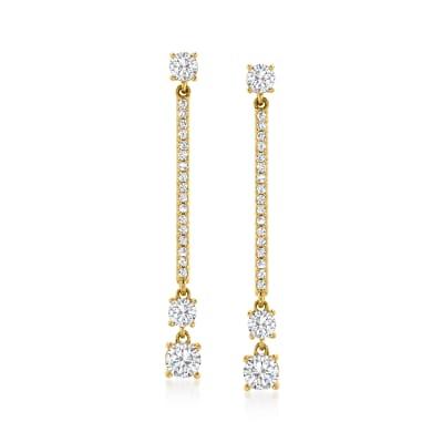 1.00 ct. t.w. Diamond Linear Drop Earrings in 14kt Yellow Gold
