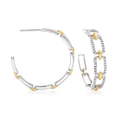 .33 ct. t.w. Diamond Paper Clip Link C-Hoop Earrings in Two-Tone Sterling Silver