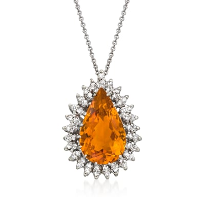 C. 1980 Vintage 9.25 Carat Citrine Pendant Necklace with .75 ct. t.w. Diamonds in 10kt and 14kt White Gold