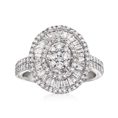 1.20 ct. t.w. Diamond Cluster Ring in 14kt White Gold