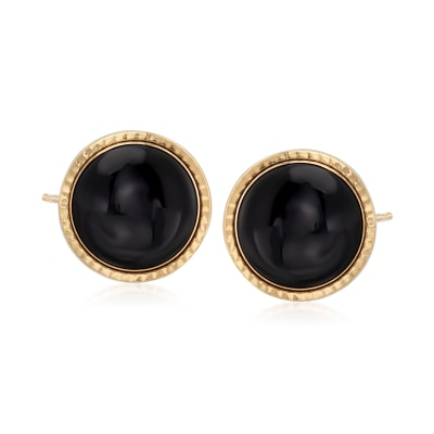 12mm Black Onyx Stud Earrings in 14kt Yellow Gold