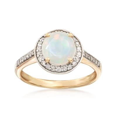 Ethipian Opal and .29 ct. t.w. Diamond Ring in 14kt Yellow Gold