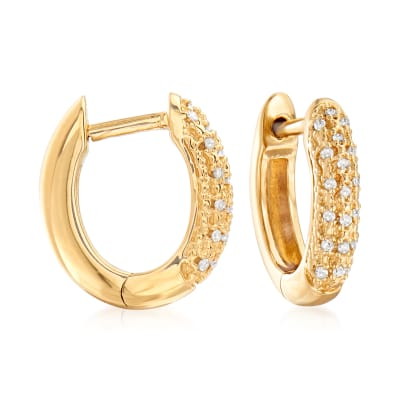 .10 ct. t.w. Diamond Huggie Hoop Earrings in 18kt Gold Over Sterling