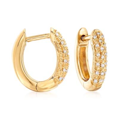 .10 ct. t.w. Diamond Huggie Hoop Earrings in 18kt Gold Over Sterling