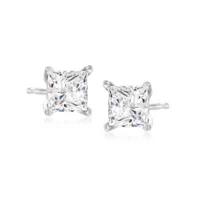 1.50 ct. t.w. Princess-Cut Diamond Stud Earrings in 14kt White Gold