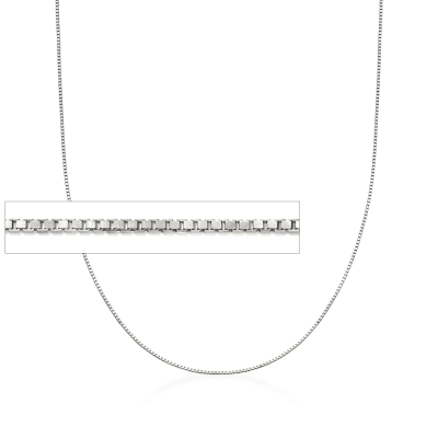 Italian 1mm Sterling Silver Box Chain Necklace