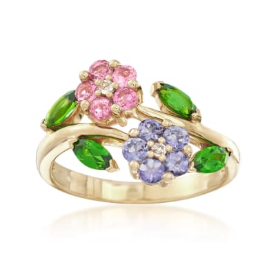 .93 ct. t.w. Multi-Gem Flower Ring in 18kt Gold Over Sterling