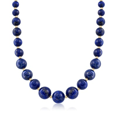 6-14mm Lapis Graduated Necklace in 14kt Yellow Gold