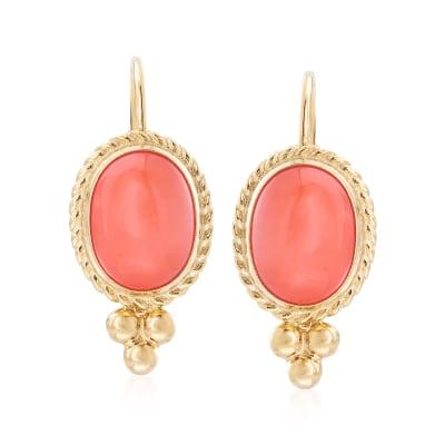 Bezel-Set Coral Drop Earrings in 14kt Yellow Gold