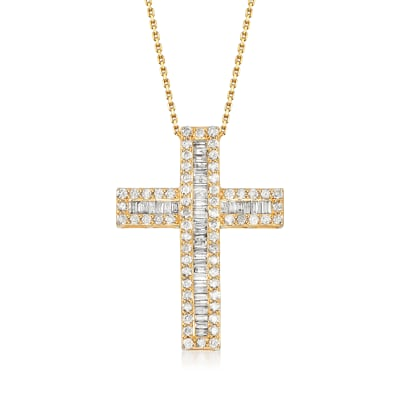 3.00 ct. t.w. Baguette and Round Diamond Cross Pendant Necklace in 18kt Gold Over Sterling