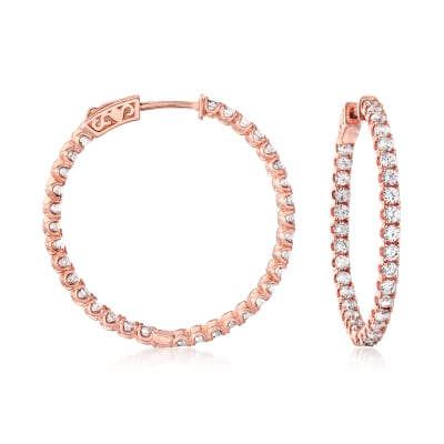 3.63 ct. t.w. CZ Inside-Outside Hoop Earrings in 18kt Rose Gold Over Sterling