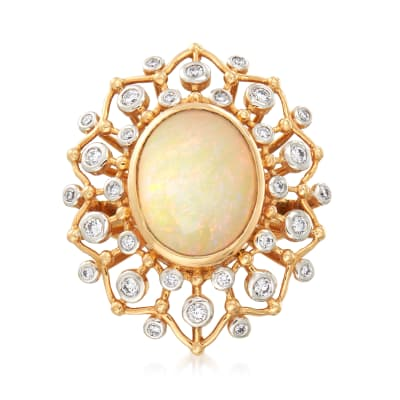 Opal and .60 ct. t.w. Diamond Cocktail Ring in  18kt Yellow Gold