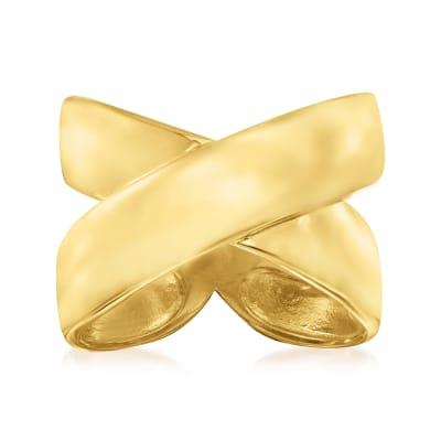 Italian 18kt Gold Over Sterling Crisscross Ring
