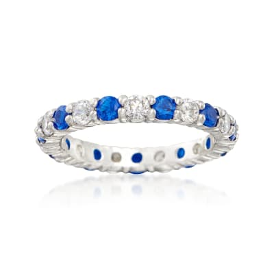 Simulated Sapphire and .80 ct. t.w. CZ Eternity Band in Sterling Silver