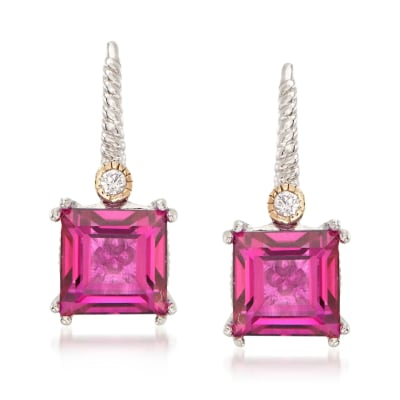 5.00 ct. t.w. Mystic Berry Quartz Earrings with White Topaz and 14kt Gold Accents in Sterling Silver