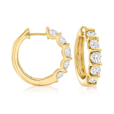 2.00 ct. t.w. Diamond Hoop Earrings in 14kt Yellow Gold