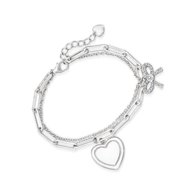 .19 ct. t.w. CZ Heart and Bow Paper Clip Link Charm Bracelet in Sterling Silver