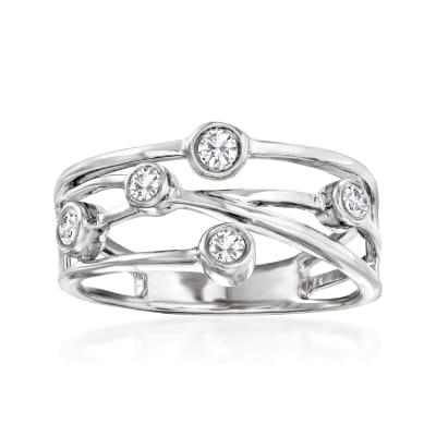 .25 ct. t.w. Diamond Crisscross Ring in Sterling Silver