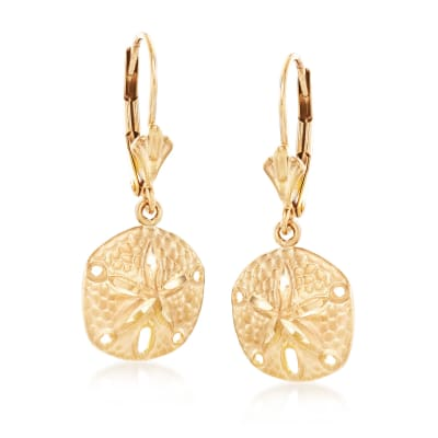14kt Yellow Gold Sand Dollar Drop Earrings