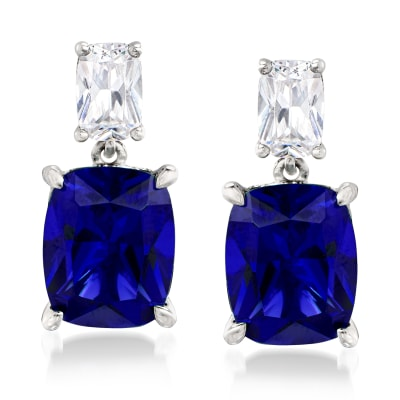 8.50 ct. t.w. Simulated Sapphire and 1.10 ct. t.w. CZ Drop Earrings in Sterling Silver