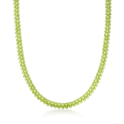 130.00 ct. t.w. Peridot Bead Necklace with 18kt Gold Over Sterling