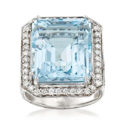 16.00 Carat Aquamarine and .84 ct. t.w. Diamond Ring in 14kt White Gold