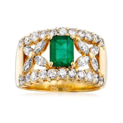 C. 1980 Vintage .90 Carat Emerald and 1.45 ct. t.w. Diamond Ring in 18kt Yellow Gold