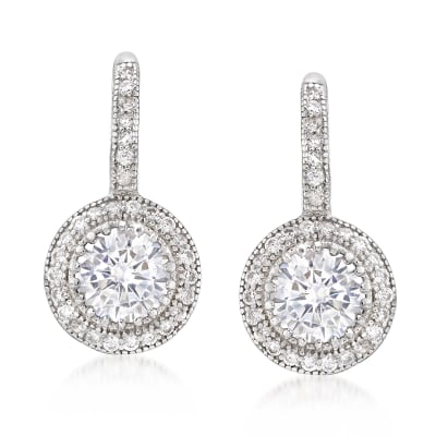 1.90 ct. t.w. CZ Round Drop Earrings in Sterling Silver