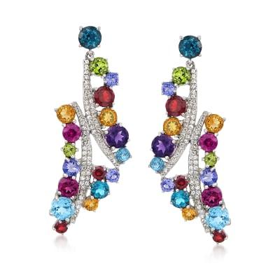 9.30 ct. t.w. Multi-Stone and .60 ct. t.w. White Zircon Drop Earrings in Sterling Silver