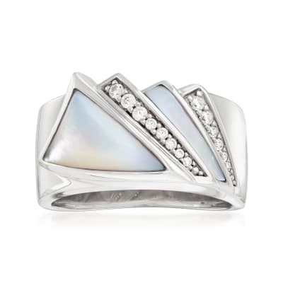 """Belle Etoile """"Empire"""" Mother-Of-Pearl and .16 ct. t.w. CZ Ring in Sterling Silver"""