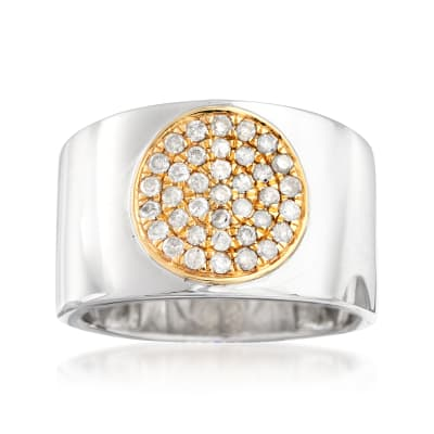 .50 ct. t.w. Diamond Circle Cluster Ring in Sterling Silver with 14kt Yellow Gold