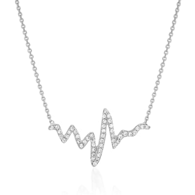 .25 ct. t.w. CZ Heartbeat Necklace in 14kt White Gold