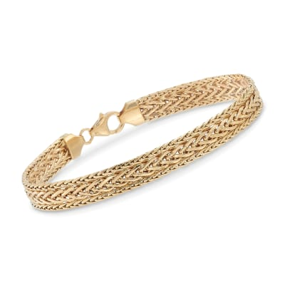 Italian 18kt Yellow Gold Three-Row Flat Wheat-Link Bracelet
