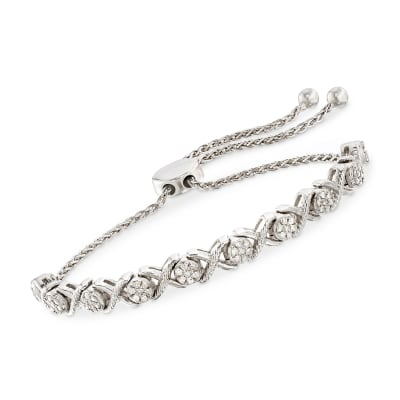 .50 ct. t.w. Diamond Cluster Bolo Bracelet in Sterling Silver