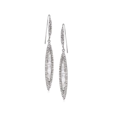 1.05 ct. t.w. Diamond Linear Drop Earrings in 18kt White Gold