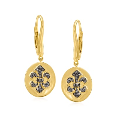 .18 ct. t.w. Black Diamond Fleur-De-Lis Drop Earrings in 18kt Gold Over Sterling