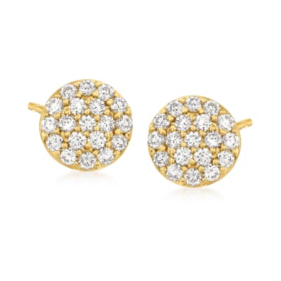 C. 1990 Vintage Tresorra .48 ct. t.w. Diamond Cluster Earrings in 18kt Yellow Gold