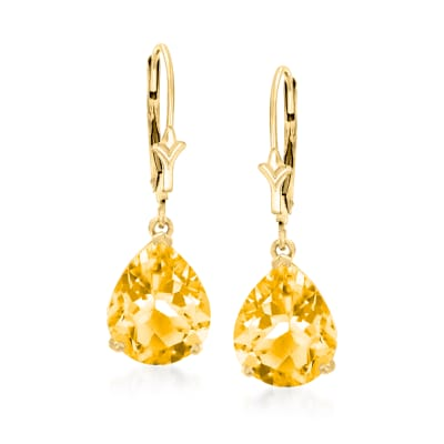 6.00 ct. t.w. Pear-Shaped Citrine Drop Earrings in 14kt Yellow Gold