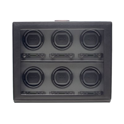 """Viceroy"" Black Faux Leather Six-Module Watch Winder by Wolf Designs"
