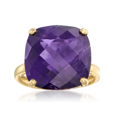 12.00 ct. t.w. Amethyst Ring in 14kt Yellow Gold
