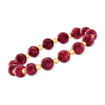 90.00 ct. t.w. Ruby Bead Stretch Bracelet with 14kt Yellow Gold