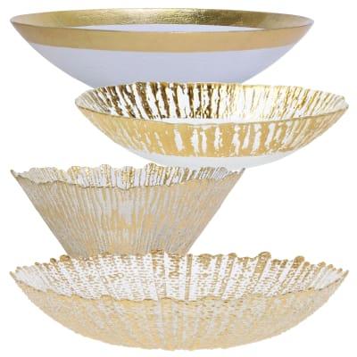 "Vietri ""Rufolo"" Gold Glass Serving Bowl"
